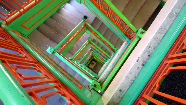 green and red staircase
