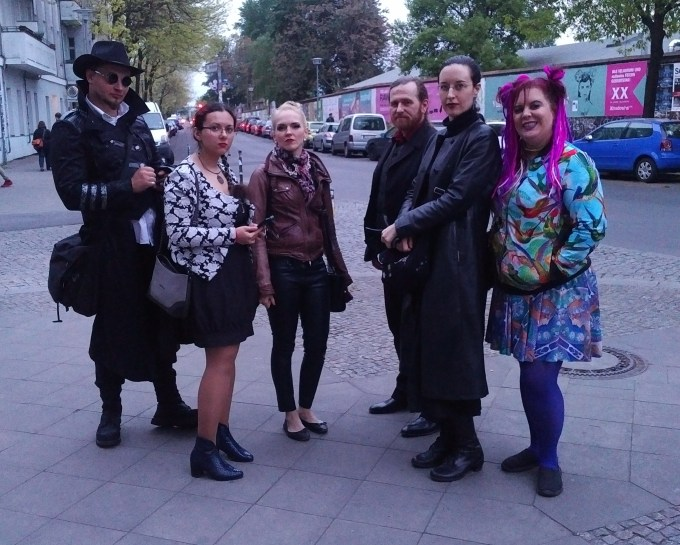 a group of larpers posing on a Berlin street