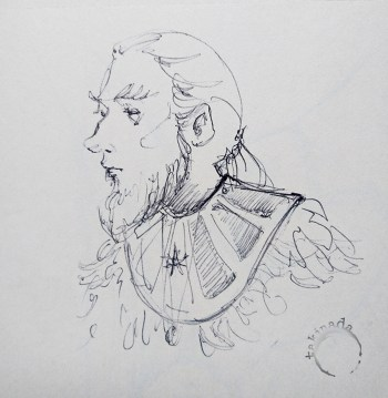 drawing of bearded man with feathers