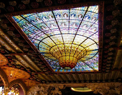 stained glass glass ceiling in a music hall