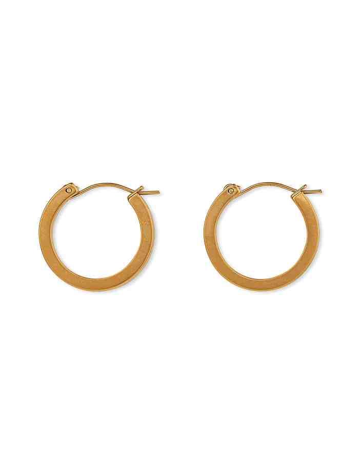 Matte Gold Hoop Earrings, Small