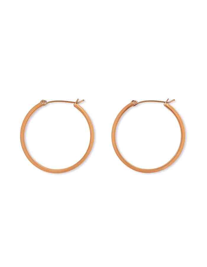 Matte Rose Gold Hoop Earrings, Medium