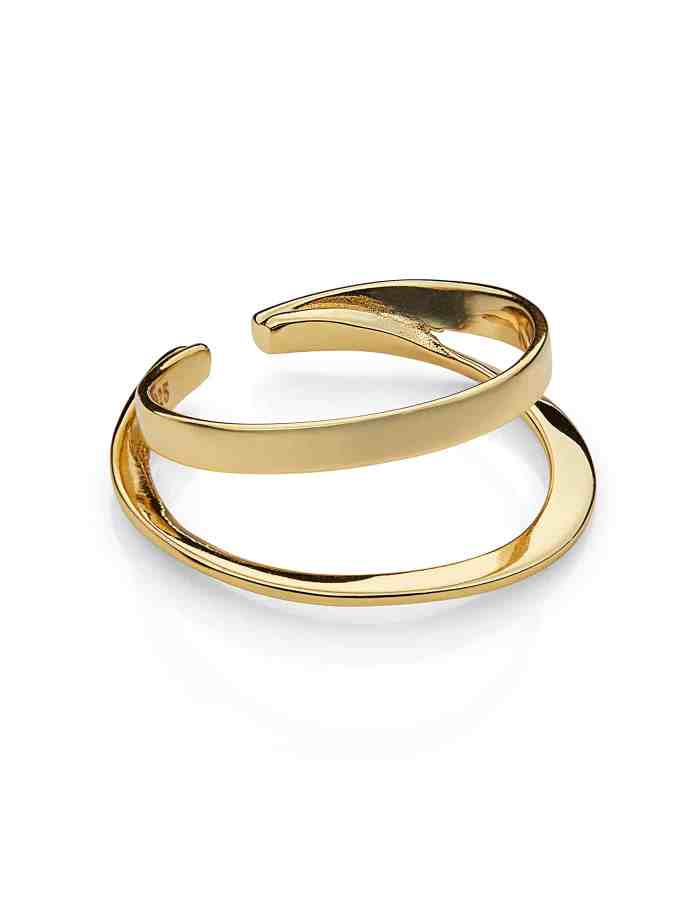 Gold Adjustable Double Layer Ring