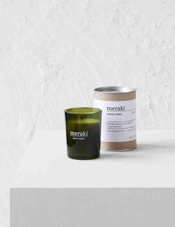 Meraki Green Herbal Scented Candle, Small