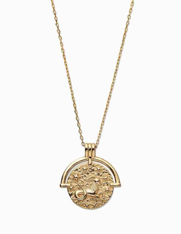 Gold Capricorn Zodiac Necklace