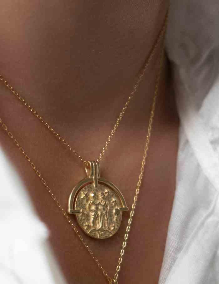 Gemini Zodiac Necklace, Gold Vermeil