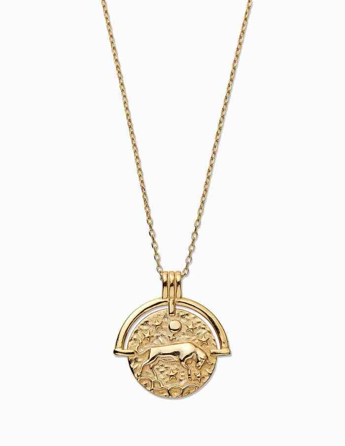 Gold Taurus Zodiac Necklace
