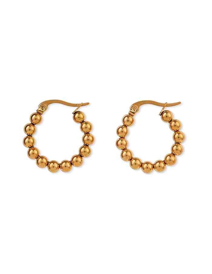 Gold Ball Hoop Earrings, Forever Lasting