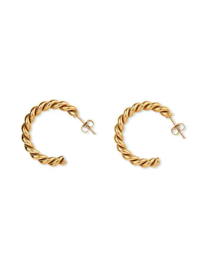 Gold Twist Hoop Earrings, Forever Lasting