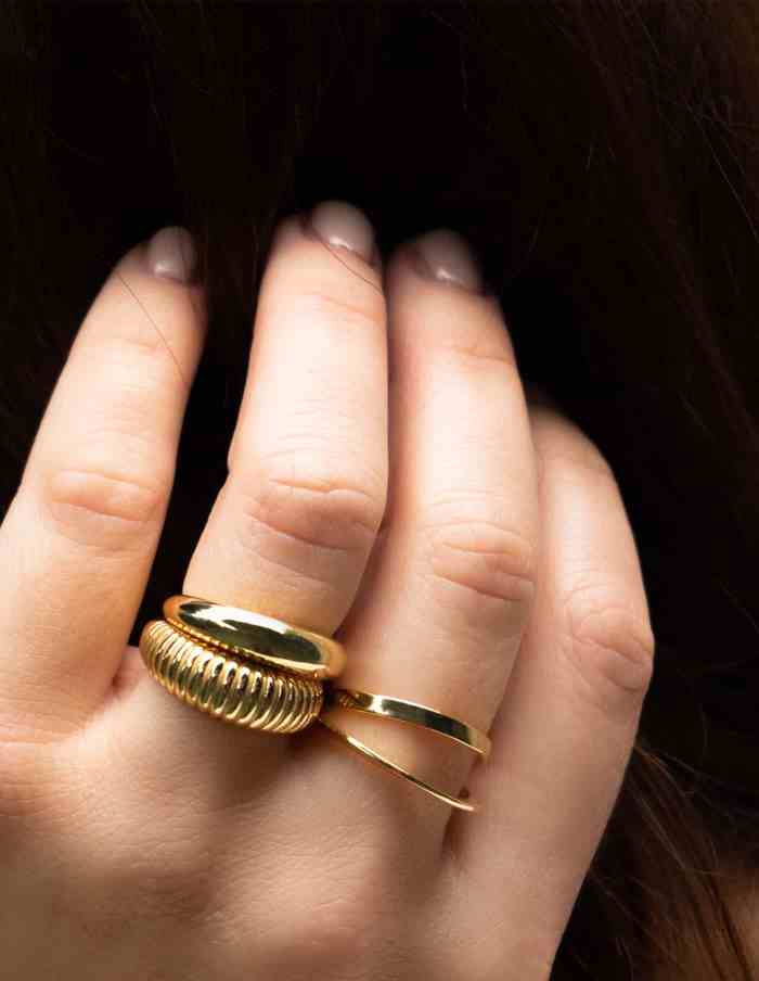 Gold Adjustable Croissant Ring