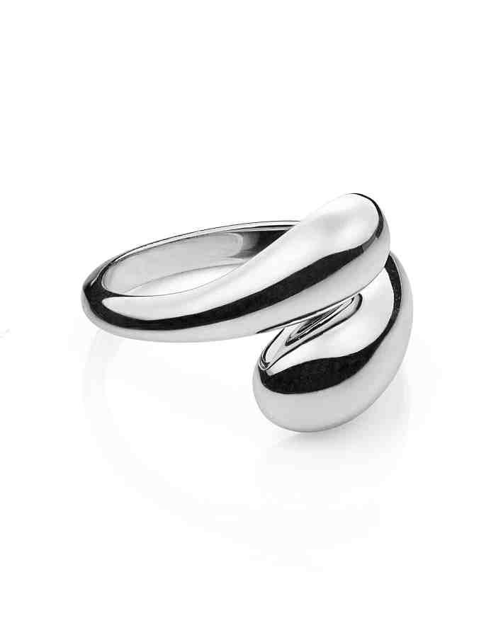 Silver Adjustable Dual Drop Ring