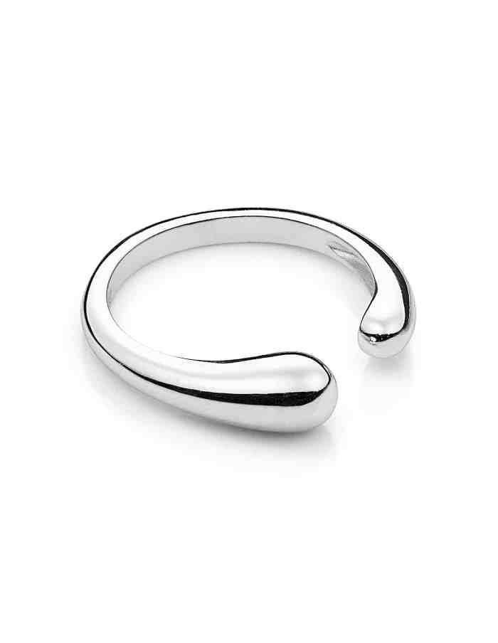Silver Adjustable Fluid Shape Ring