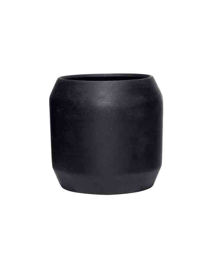 Large Black Rounded Plant Pot, Hübsch