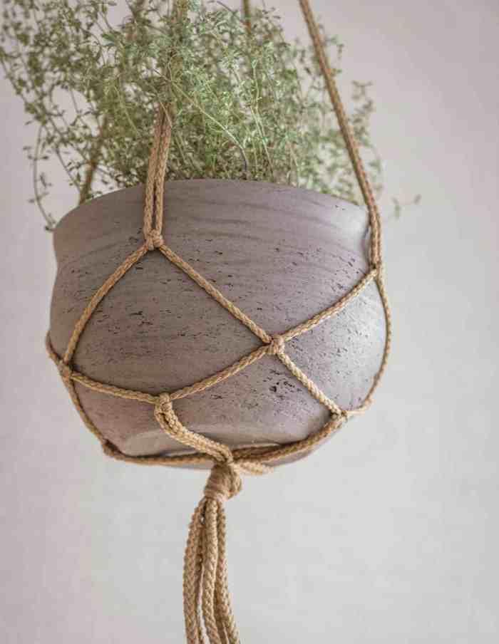 Stone Hanging Plant Pot, Concrete