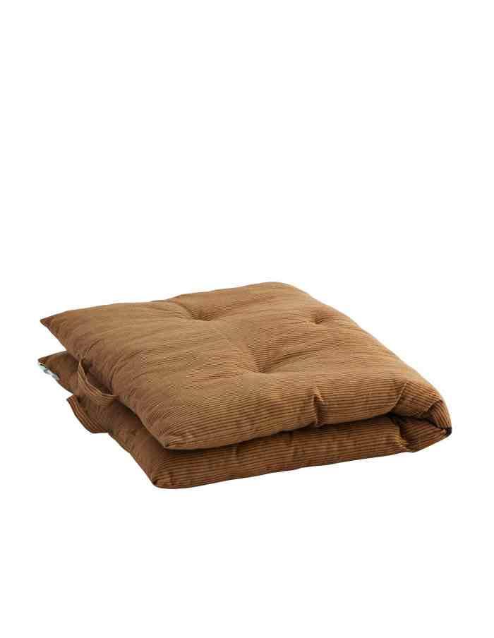 Brown Striped Bench and Floor Cushion, Madam Stoltz