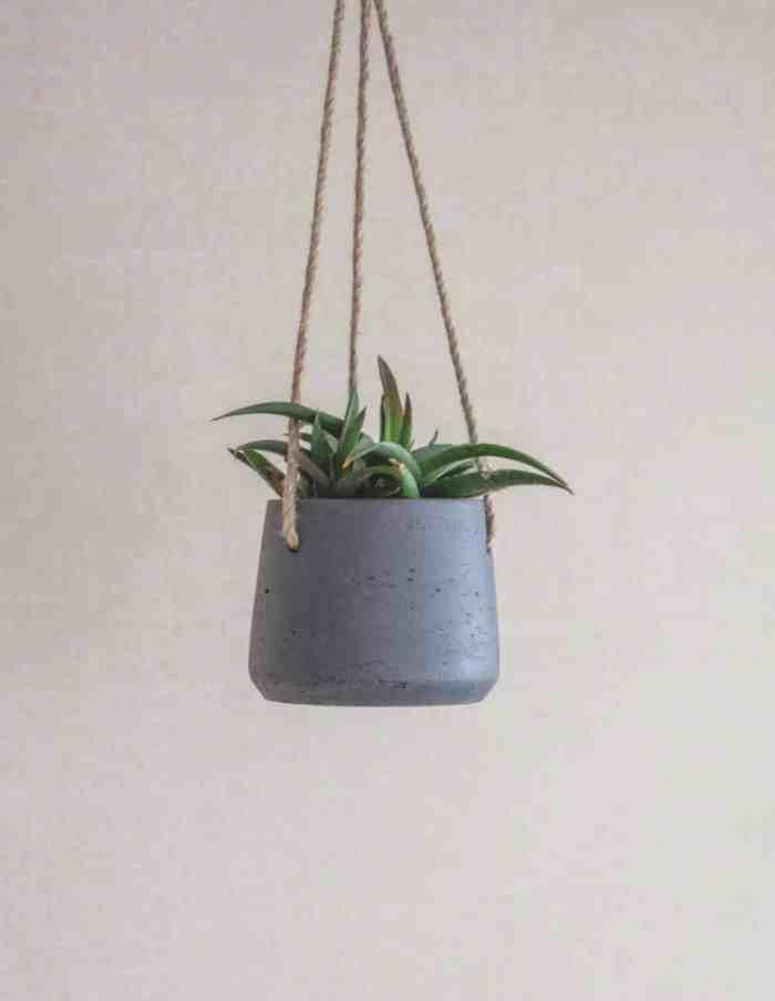 Small Carbon Hanging Plant Pot, Concrete
