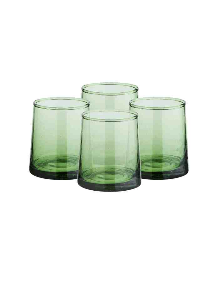 Set of 4 Mid Recycled Moroccan Beldi Glass, Green