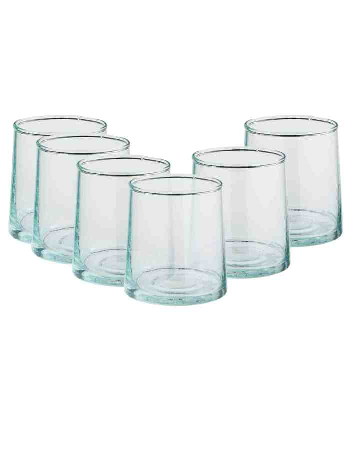 Set of 6 Clear Mid Recycled Moroccan Beldi Glasses