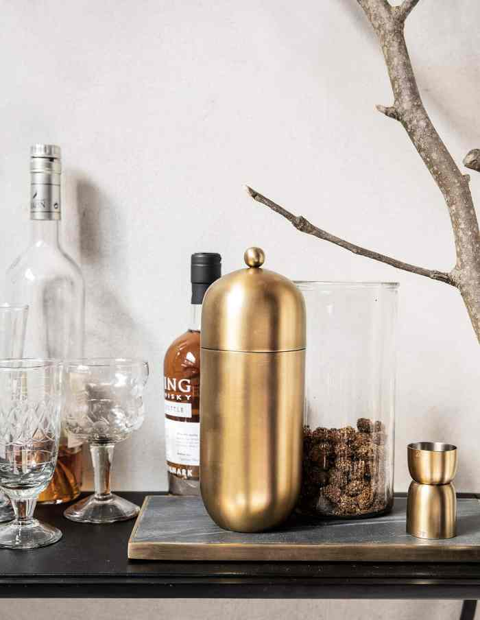 Brass Finish Cocktail Shaker, House Doctor