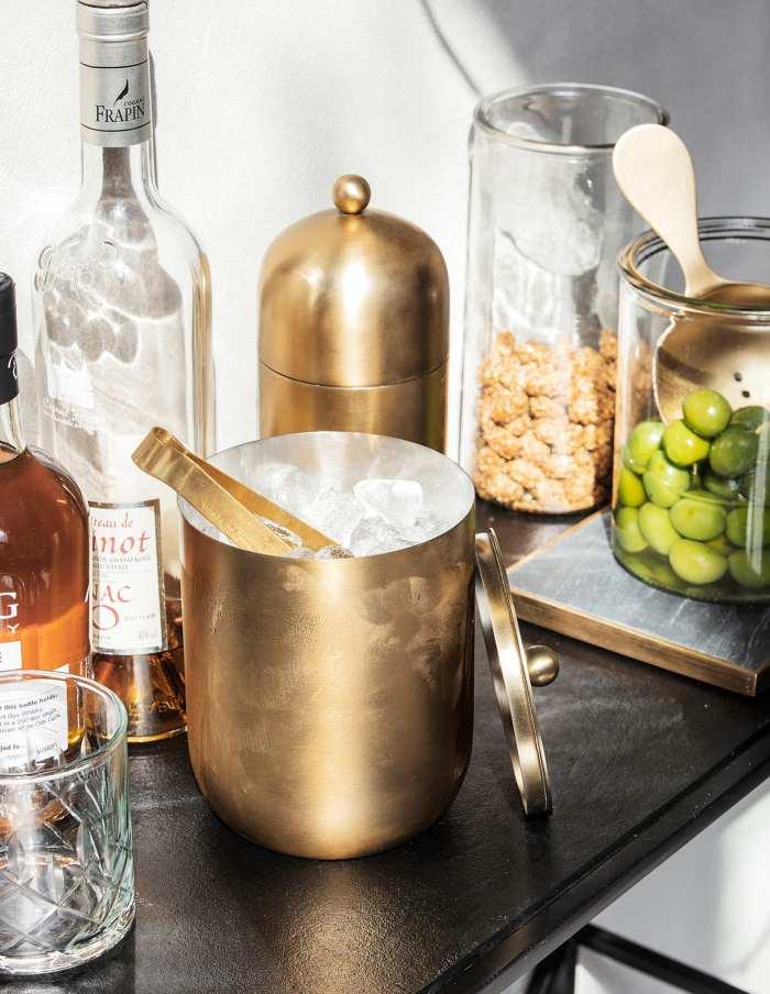 Brass Finish Ice & Wine Bucket, House Doctor