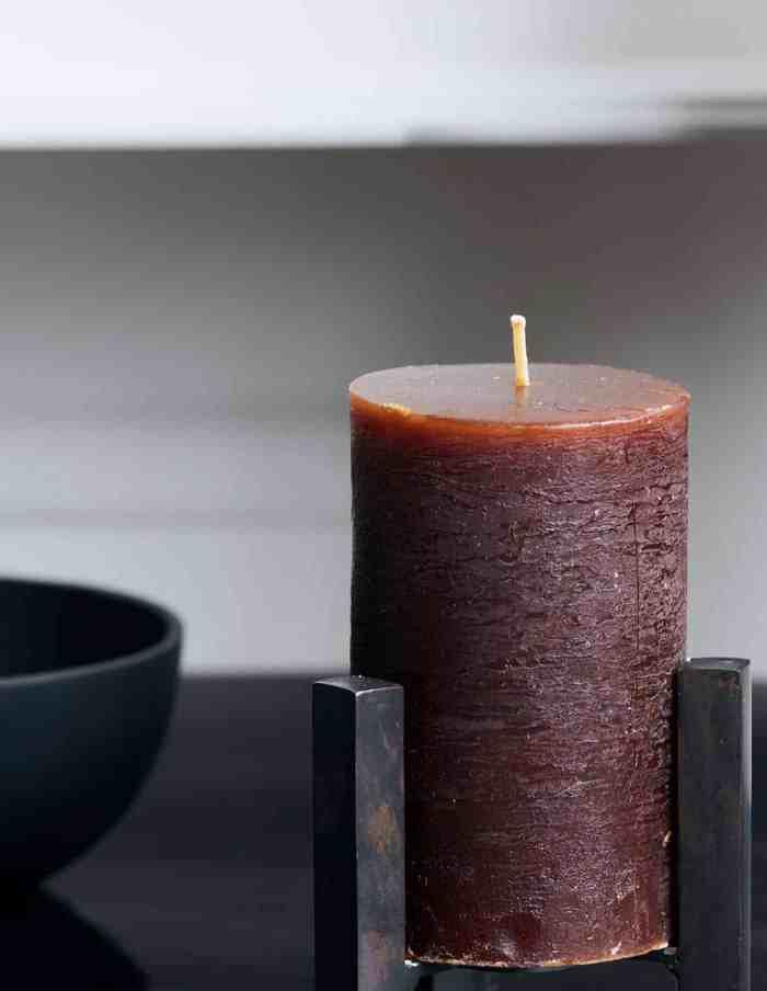 Rustic Cognac Pillar Candle Set, House Doctor