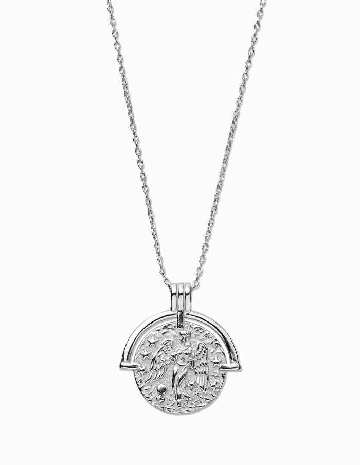 Virgo Zodiac Necklace with Coin Pendant, Sterling Silver