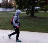 Marche nordique sous la pluis