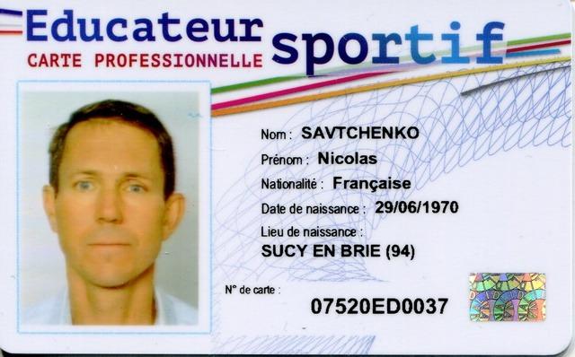 Carte professionnelle d'éducateur sportif - Recto