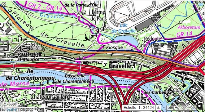 Carte IGN Gravelle, Bois de Vincennes