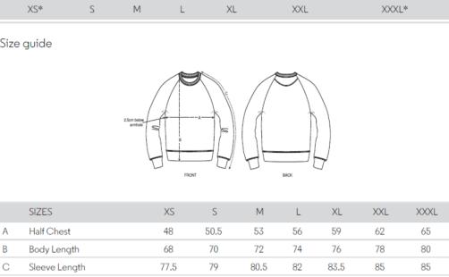 maattabel sweater men