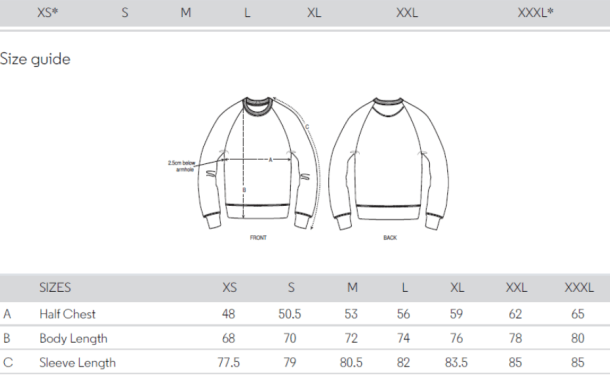 maattabel sweater men