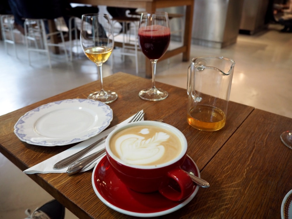 A Prague food guide. Coffee, juice and plates.