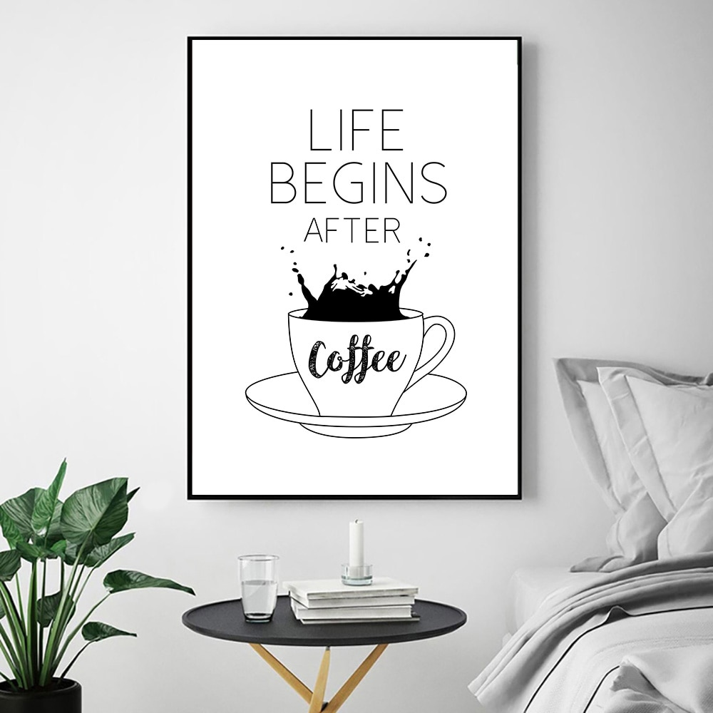 Life Begins After Coffee Quotes Canvas Prints Coffee Alphabet Black And White Wall Pictures Cafe Shop Poster Wall Art Decor Nordic Wall Canvas Home And Decoration