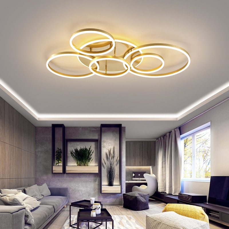 Modern Led Circle Rings Ceiling Lights For Living Room Bedroom Study Room Ceiling Lamp White Brown Black Gold Color 90 260v Nordic Wall Canvas Home And Decoration