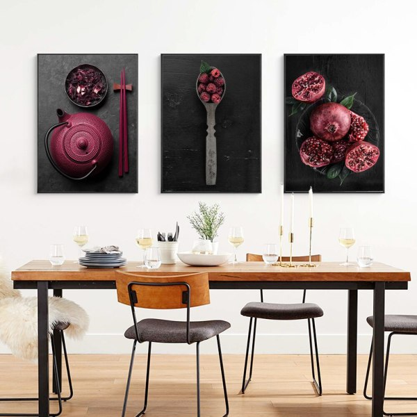 Food Kitchen Poster Wall Art Canvas, Dining Room Wall Decor Canvas