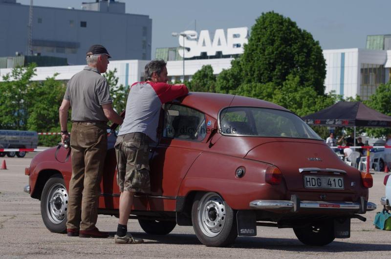Saab Schriftzüge am alten Saab Werk in Trollhättan.