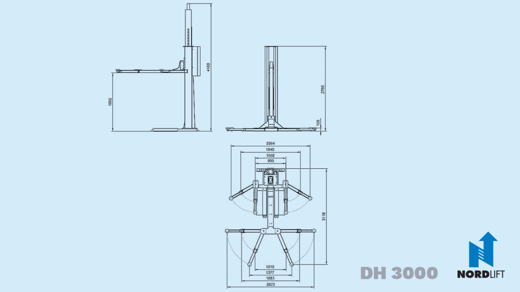 Nordlift single post lifts dh 3000 dimension drawing 59