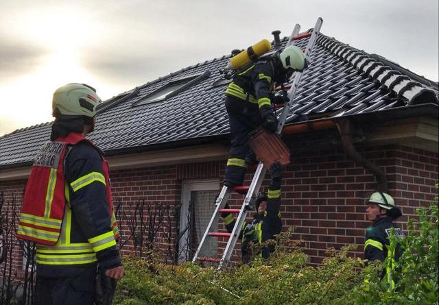 Heckenbrand greift auf Dach von Einfamilienhaus über - Feuerwehr rettet Greifvogel am Lattruper Weg - Foto: Feuerwehr Nordhorn, Holger Schmalfuß