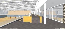 Entwurfszeichnung des zukünftigen Sportzentrums mit Blick in beide Hallen. Zeichnung: Vom Landkreis Grafschaft Bentheim zur Verfügung gestellt