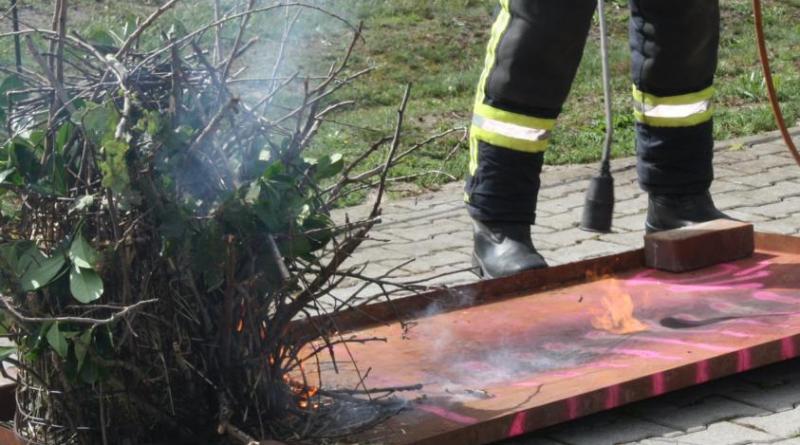 Bei einem Versuch mit einem Abflammgerät zeigte sich, dass es bereits ab einem Abstand von 50 Zentimetern zu einem Feuerüberschlag kommen kann. Foto: Marina Heller