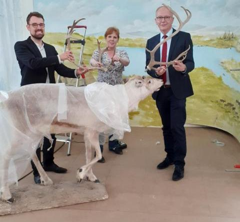 Noch ist es eine Baustelle: (v. l.) Philipp Scheid, Leiter der Abteilung Kultur, Museumsleiterin Silke Surberg-Röhr und Erster Kreisrat Martin Gerenkamp vor der ersten Großinszenierung. (Foto: Landkreis Emsland)