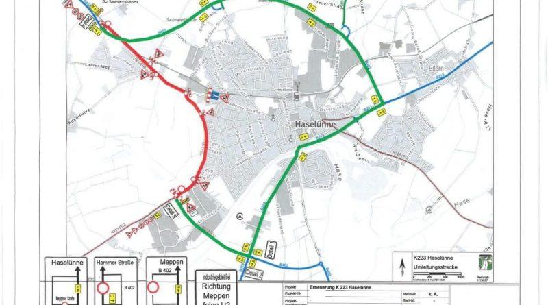 Sperrung der Kreisstraße 223 in Haselünne - Grafik: Landkreis Emsland