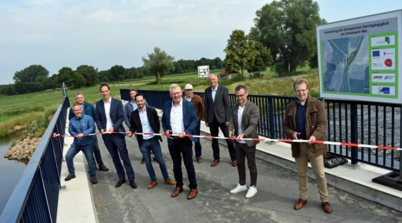 Sohlgleite und Brücke am Dinkelwehr in Lage fertig gestellt – ökologische Durchgängigkeit der Dinkel wiederhergestellt - Foto: Landkreis GrafschaftBentheim