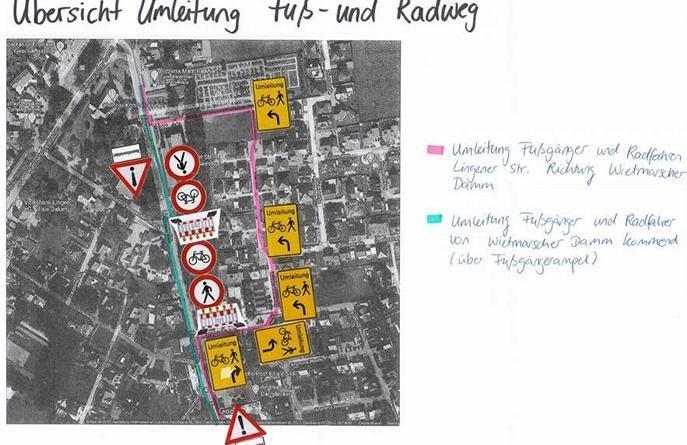 Erweiterung der Bürgerhilfe startet am 12. Juli - Umleitung Fuß- und Radweg an der Lingener Straße - Foto © CK Architektur