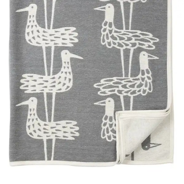 Plaid in caldo cotone SHOREBIRDS 140x180cm Grey-0