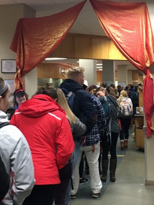 Students In Line for Moroccan Style Cuisine