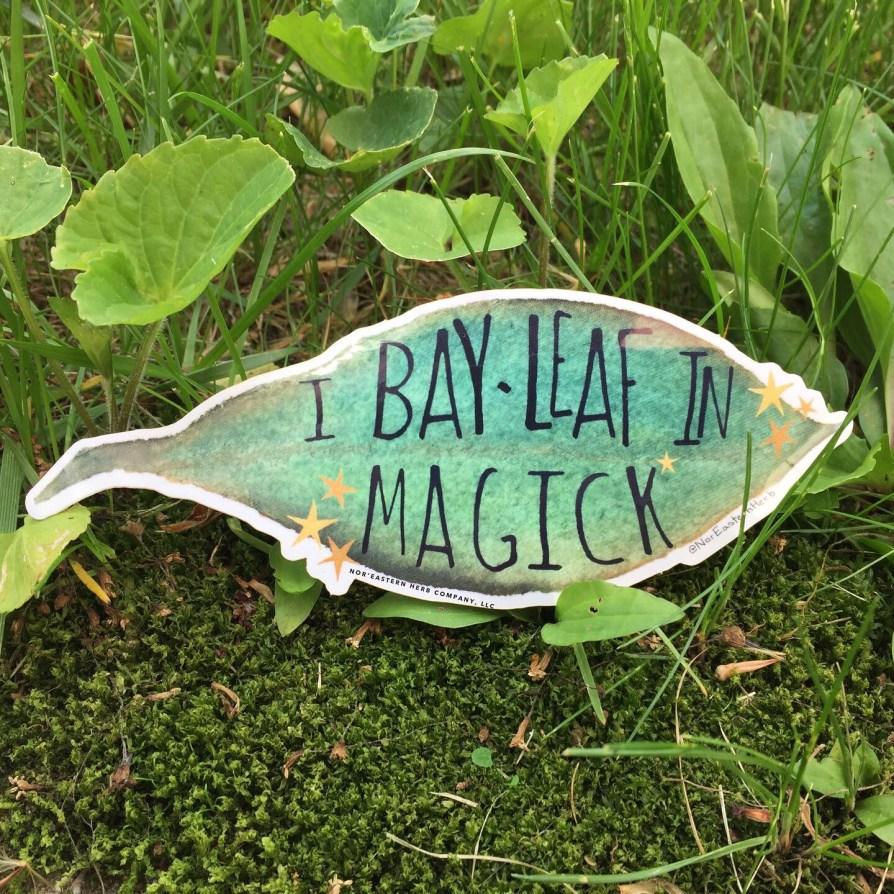 I Bay Leaf in Magick sticker in grass