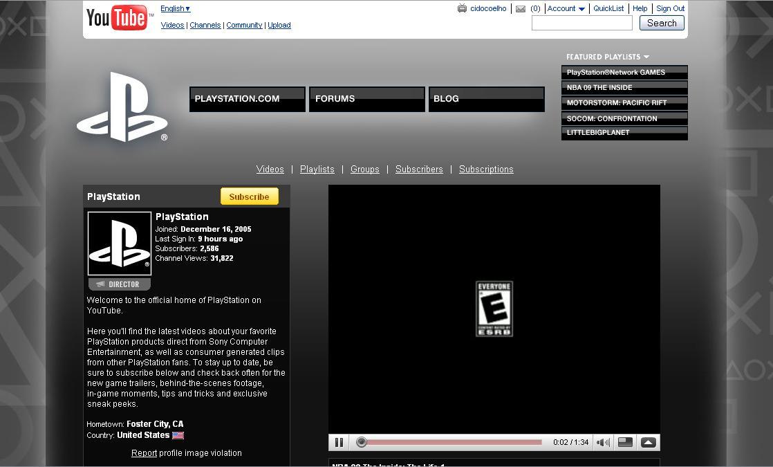 Agora a Sony aderiu a tecnologia do You Tube para divulgar PlayStation