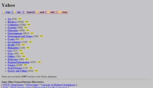 Primeira home do Yahoo em 1995, bela página, não?