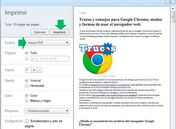 Como convertir una página web en un archivo PDF con Google Chrome